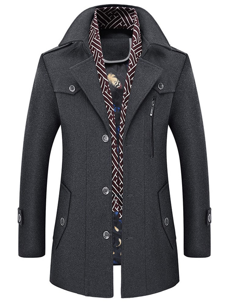 Notched Lapel Plain Mid-Length Slim Men's Coat