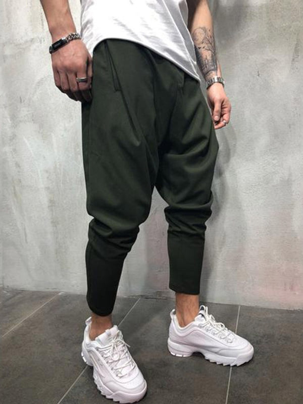 Mid-Waist Plain Slim Zipper Thin Mens Pencil Casual Pants