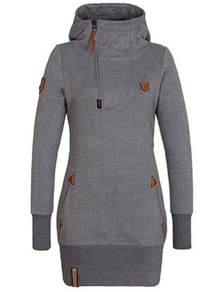 Mid-Length Plain Casual Pullover Women's Hoodie