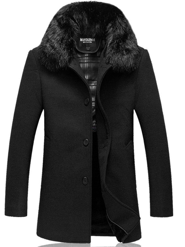 Fur Lapel Single Breasted Black Slim Men's Wool Coats