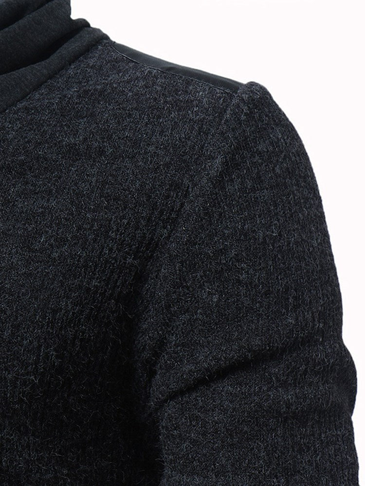 Plain Heap Collar Patchwork Slim Men's Casual Sweaters