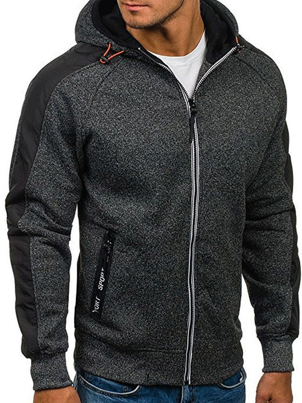 Patchwork Hooded Cardigan Fall Men's Jacket