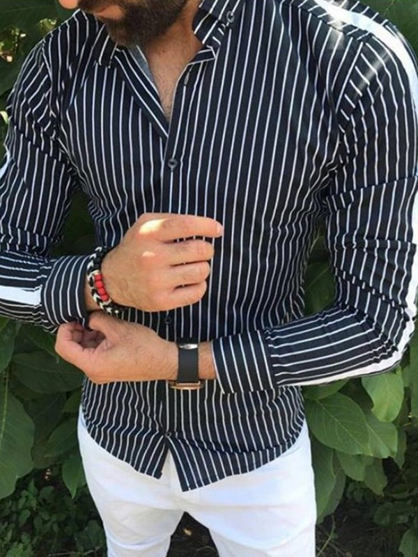 Stripe Print Lapel Slim Men's Long Sleeve Shirt