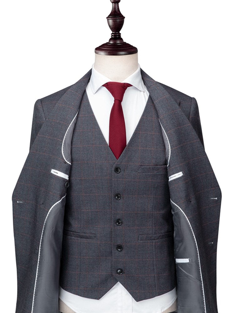 Double-Breasted Plaid Slim Three Piece Men's Dress Suit