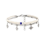 Pearl and E-Plating Silver Star Female Anklet