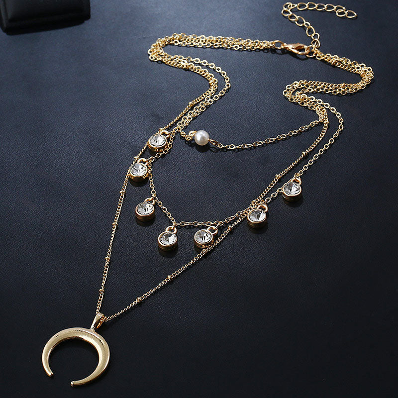European Alloy Multi-layer Pendant Necklace