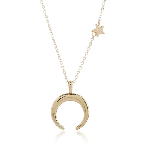 Star with Moon Pendant Alloy Women's Necklace