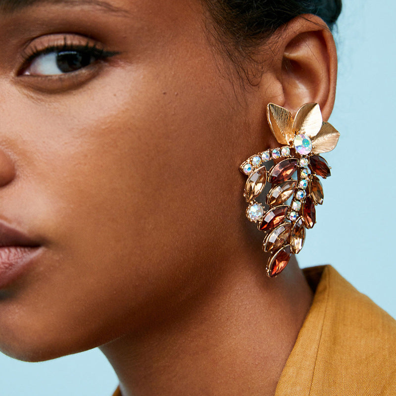Exaggerated Leaf-Studded Multi-Layer Bohemian Earrings