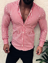 Stripe Print Lapel Long Sleeve Men's Slim Shirt