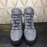 Silver Sequins Round Toe Lace-Up Men's Skater Shoes