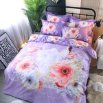 Fairy and Flower Printing Light Purple Elegant Cotton 4-Piece Bedding Sets/Duvet Cover