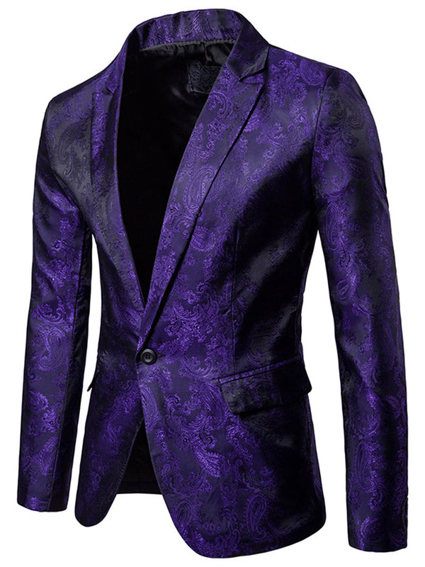 Revers Vogue Print Slim Blazer Hommes