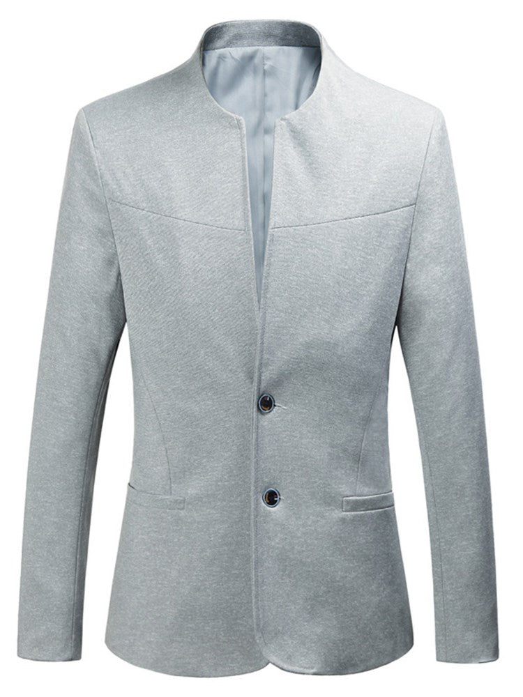 Pure Color Plain Collarless Two Button Slim Mens Casual Blazer