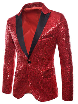 Plain One Button Sequins Mens Ball Costumes Blazer Jacket