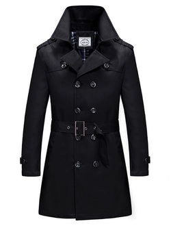 Slim Double Breasted Long Trench Coat