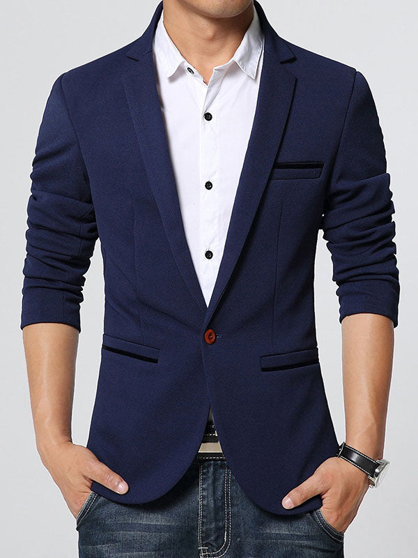 Reversed Slim Fit One Button Solide Herren-Blazer