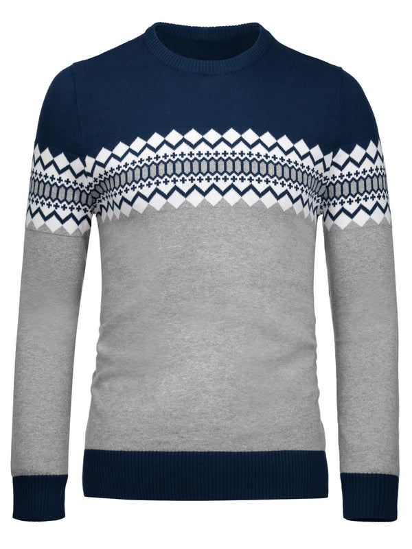 Geometric Print V-Neck England Style Slim Men's Sweater