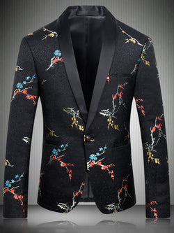 One Button Lapel Slim Vogue Embroidery Men's Black Blazer