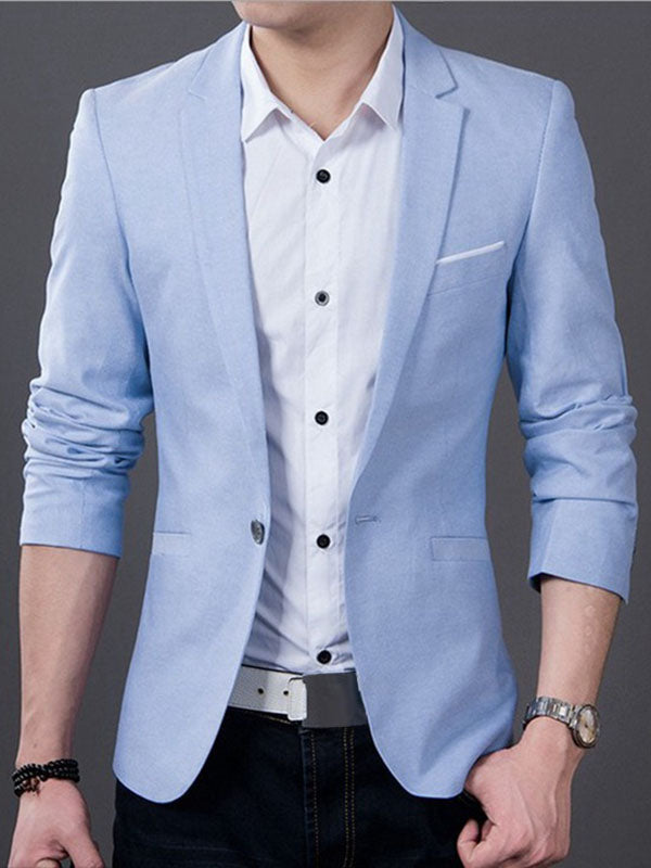 Gekerbter Kragen One Button Slim Fit Casual Herren Blazer