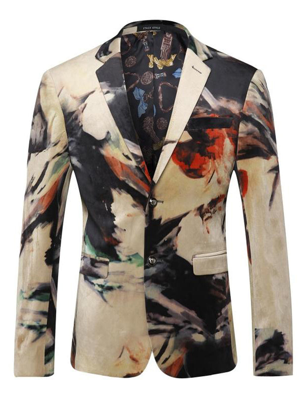 Chinese Ink Painting Print Lapel Men's Banquet Blazer