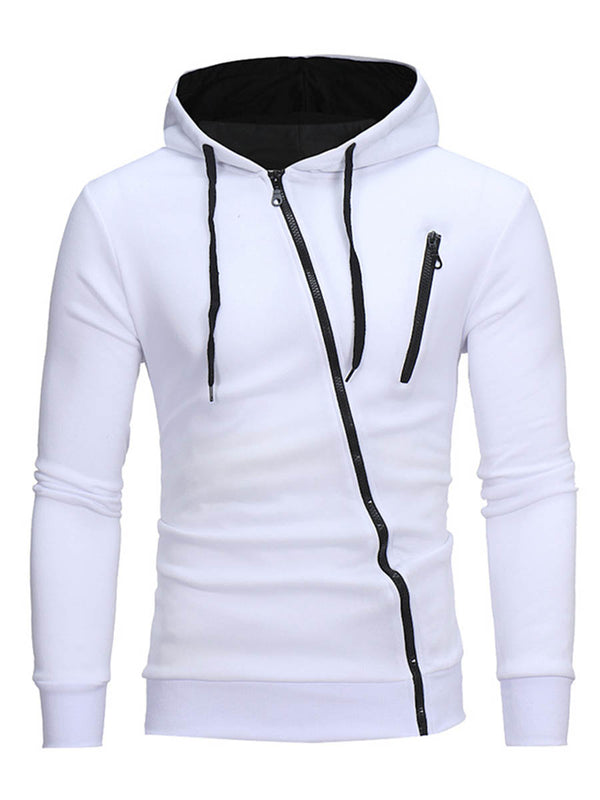 Hooded Oblique Zipper Cotton Blends Cardigan Men's Hoodie