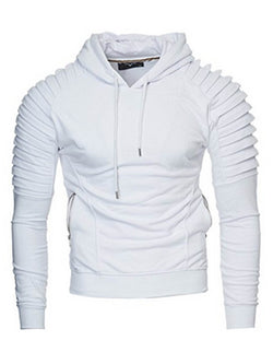 Solid Color Pullover Vogue Pleat Sleeve Slim Men's Hoodie