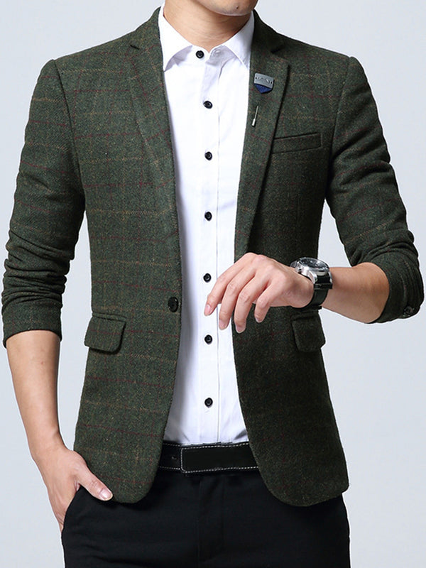 Hebedress Plaid Notched Collar One Button Slim Fit Men's Casual Blazer