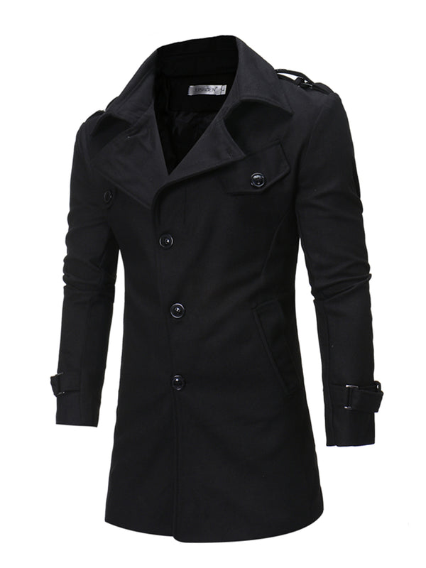 Mid-Length Single-Breasted Wool Blends Straight Men's Coat