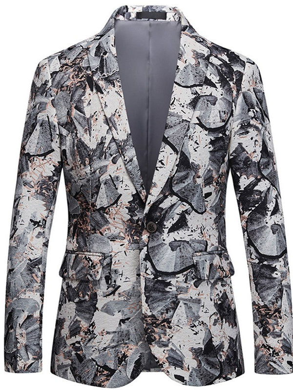 Floral Lapel Print One Button Mens Casual Ball Blazer Jacket