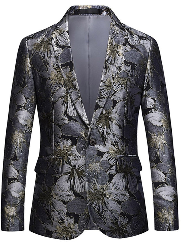 Floral Print Lapel Straight One Button Mens Casual Blazer