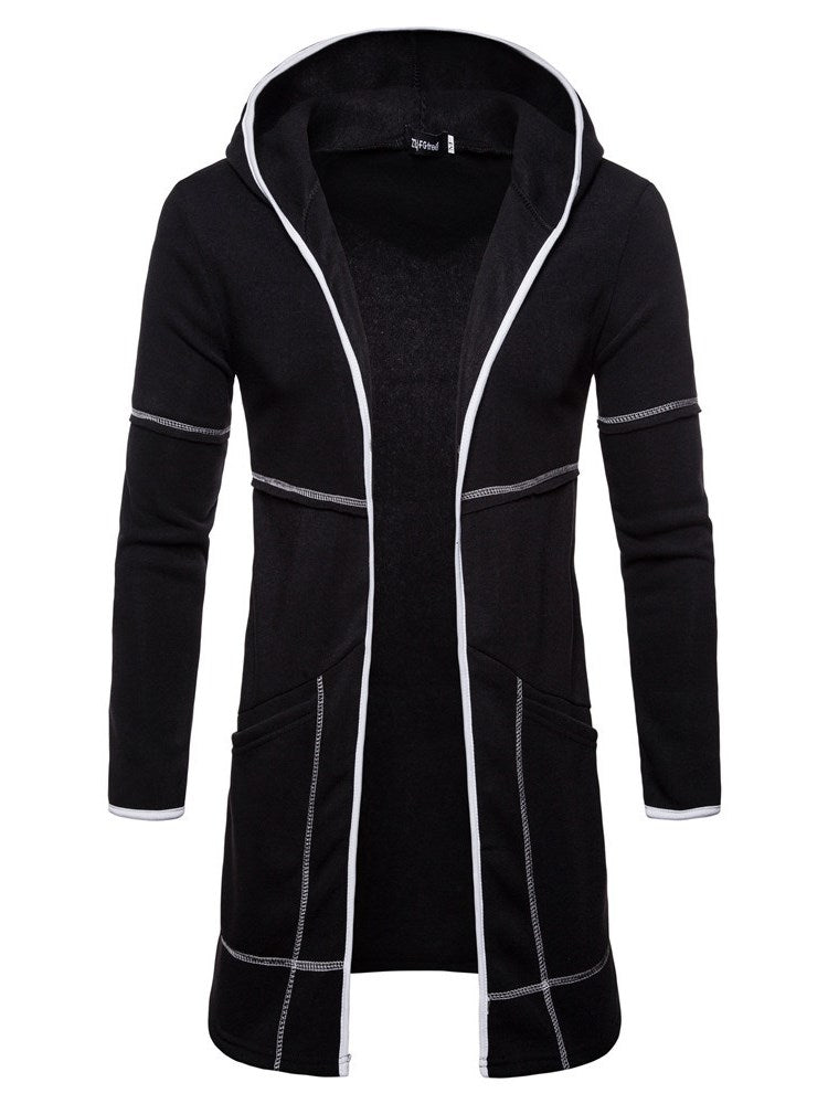 Hooded Zipper Loose Fall Men's Mid-Length Cardigan