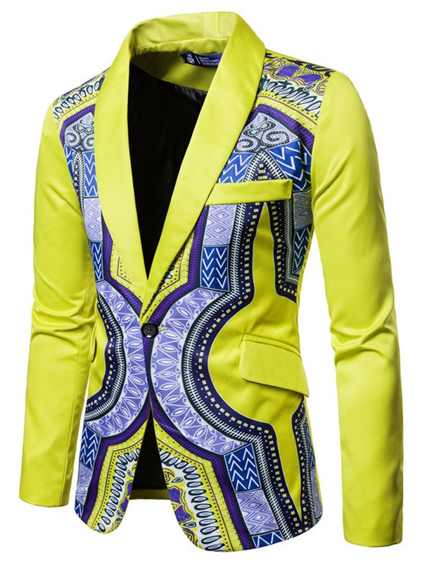 Notched Lapel Geometric Print One Button Straight Men's Blazer