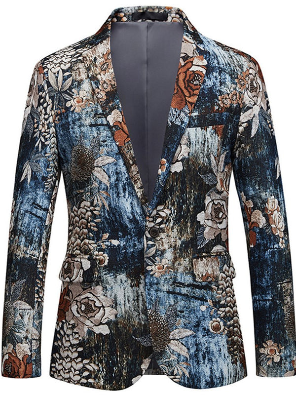 Hebedress Lapel Straight Floral Print Blazer Hombres
