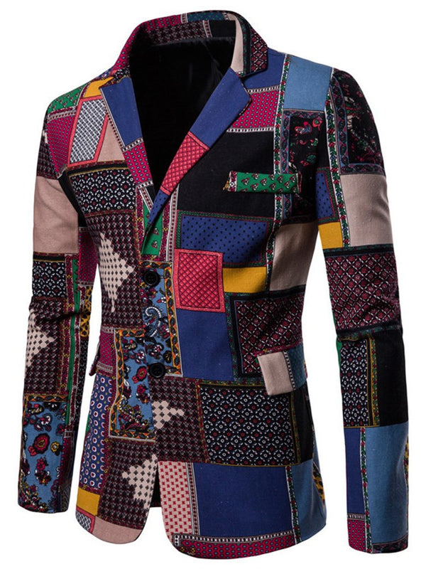 Color Block Patchwork Einreihiger dünner Mens Casual Blazer