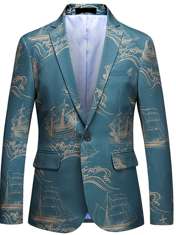 Architecture Print Blue Mens One Button Casual Ball Blazer