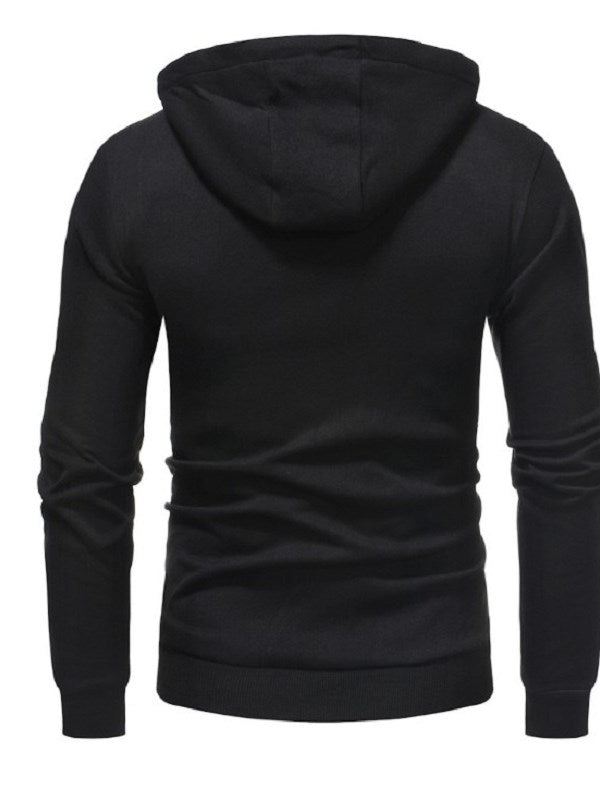 Sudadera con capucha Pure Color Fall Hooded Plain Cadigan Zipper para hombre