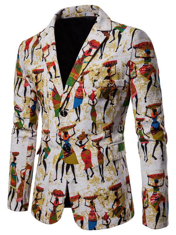 Ethinic Cartoon Printed Slim Mens Casual Einzigartiger Blazer