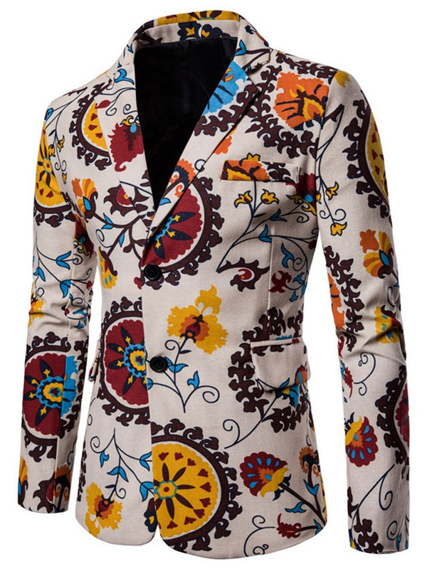 Casual Style Slim Fit Men's Floral Blazer