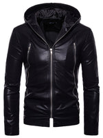 Hebedress Hooded Plain Zipper Men's PU Jacket