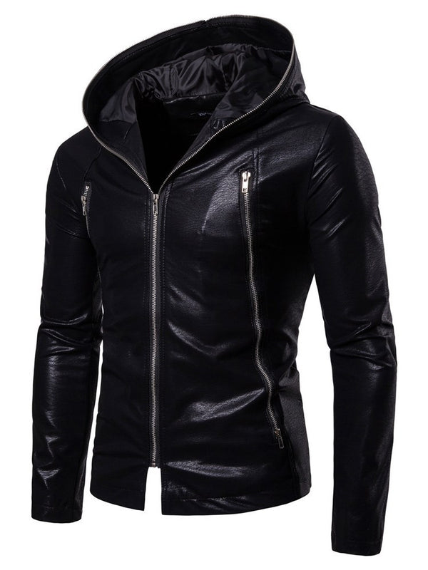 Veste en PU pour hommes Hebedress Hooded Plain Zipper