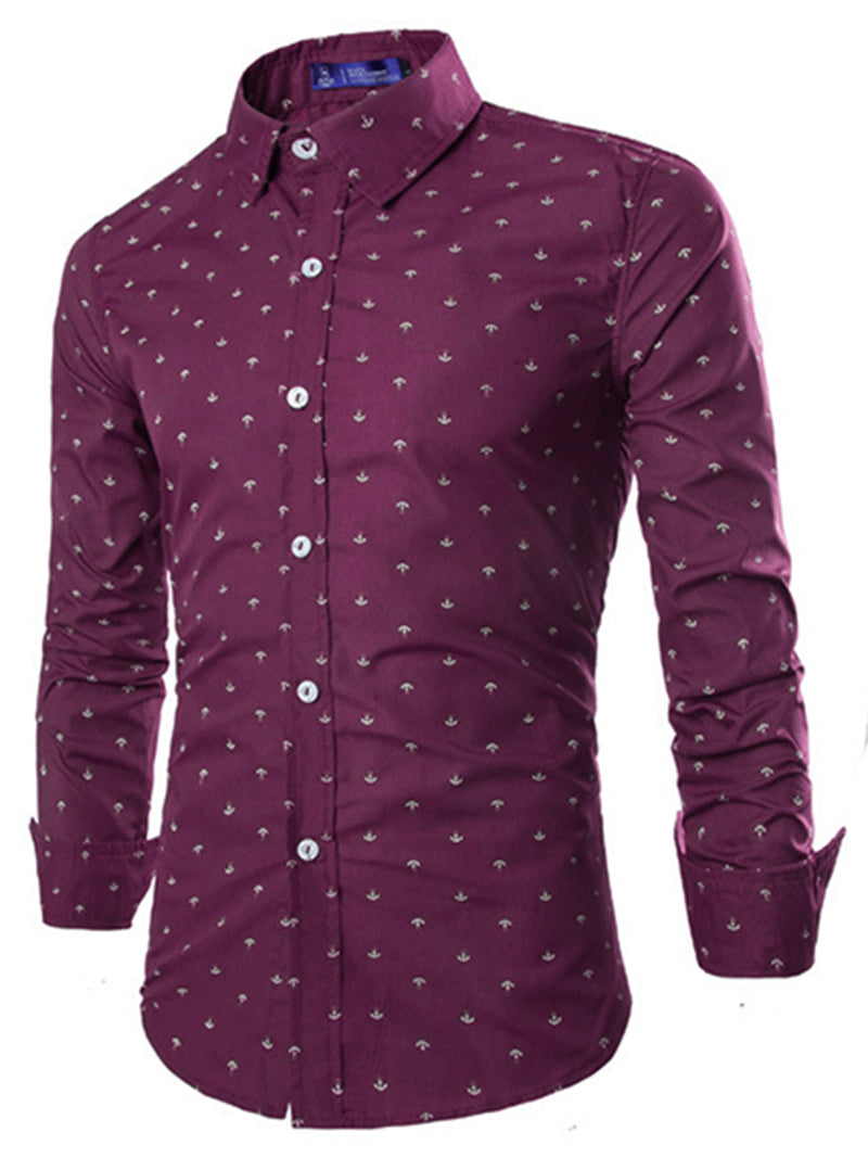 England Style Lapel Slim Fit Long Sleeve Shirt For Men