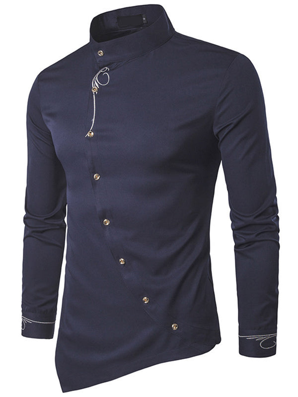 Stand Collar Embroidery Asymmetry Slim Men's Long Sleeve Shirt