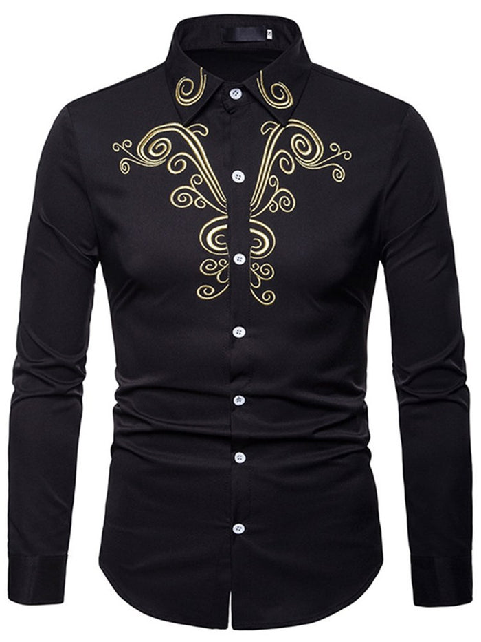 Embroidery Plain Single-Breasted Men's Casual Shirt