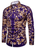 Floral Print Long Sleeve Slim Men's Lapel Shirt