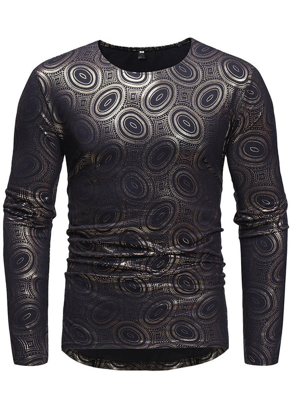 Geometrische gedruckte Scoop Mens Casual Long Sleeve T-Shirts