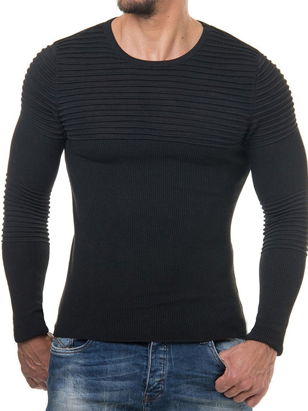 Rundhalsausschnitt Slim Fit Stricken Herren T-Shirt
