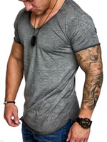 Scoop Neck Loose Cotton Men's T-shirt Short Sleeve