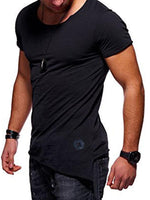 Asymmetric Plain Slim Men's T-Shirt