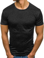Pure Color Round Neck Casual Short Sleeve Men's T-Shirt
