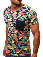Round Neck Short Sleeve Slim Camouflage Men's T-shirt
